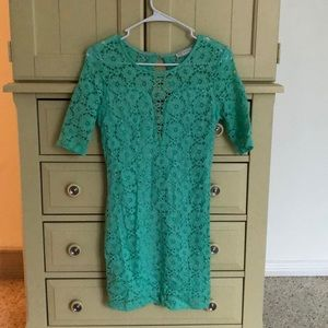 Tighter fit blue sequenced 3/4 length sleeve dress